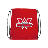 Nylon Red Drawstring Backpack-Interlocking W Mountaineers - Official Logo