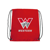 Red Drawstring Backpack-W Western