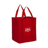 Non Woven Red Grocery Tote-Interlocking W Mountaineers - Official Logo