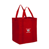 Non Woven Red Grocery Tote-W Western