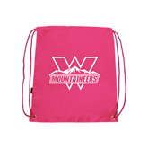 Pink Drawstring Backpack-Interlocking W Mountaineers - Official Logo