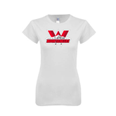 Next Level Ladies SoftStyle Junior Fitted White Tee-Interlocking W Mountaineers - Official Logo