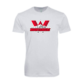 Next Level SoftStyle White T Shirt-Interlocking W Mountaineers - Official Logo