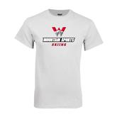 White T Shirt-Skiing
