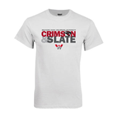 White T Shirt-Crimson and Slate