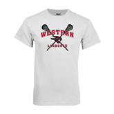 White T Shirt-Lacrosse Crossed Sticks