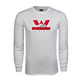 White Long Sleeve T Shirt-Interlocking W Mountaineers - Official Logo