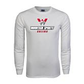 White Long Sleeve T Shirt-Skiing