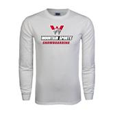 White Long Sleeve T Shirt-Snowboarding