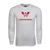 White Long Sleeve T Shirt-W Mountaineers