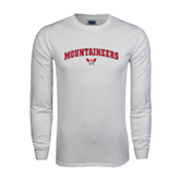 White Long Sleeve T Shirt-Arched Mountaineers w/ W