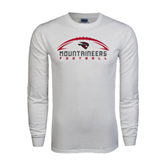 White Long Sleeve T Shirt-Arched Football Design