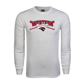 White Long Sleeve T Shirt-Baseball Crossed Bats Design