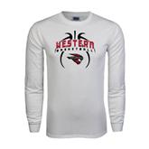 White Long Sleeve T Shirt-Basketball in Ball