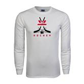 White Long Sleeve T Shirt-Hockey Crossed Sticks Design