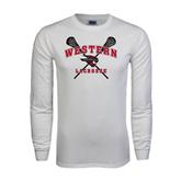 White Long Sleeve T Shirt-Lacrosse Crossed Sticks
