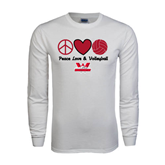 White Long Sleeve T Shirt-Peace, Love and Volleyball Design