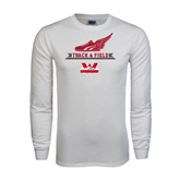 White Long Sleeve T Shirt-Track and Field Side Shoe Design