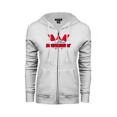 ENZA Ladies White Fleece Full Zip Hoodie-Interlocking W Mountaineers - Official Logo