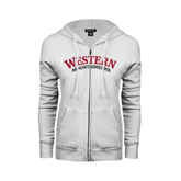 ENZA Ladies White Fleece Full Zip Hoodie-Arched Western Mountaineers