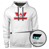 Contemporary Sofspun White Hoodie-Interlocking W Mountaineers - Official Logo