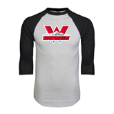White/Black Raglan Baseball T-Shirt-Interlocking W Mountaineers - Official Logo