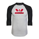 White/Black Raglan Baseball T-Shirt-Interlocking W Mountaineers - Official Logo