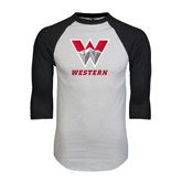 White/Black Raglan Baseball T-Shirt-W Western