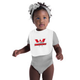 White Baby Bib-Interlocking W Mountaineers - Official Logo