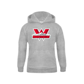 Youth Grey Fleece Hood-Interlocking W Mountaineers - Official Logo