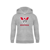 Youth Grey Fleece Hood-W Western