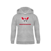 Youth Grey Fleece Hood-W Mountaineers
