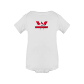 White Infant Onesie-Interlocking W Mountaineers - Official Logo