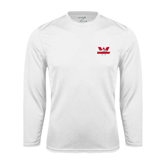 Syntrel Performance White Longsleeve Shirt-Interlocking W Mountaineers - Official Logo