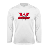Performance White Longsleeve Shirt-Interlocking W Mountaineers - Official Logo