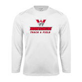 Performance White Longsleeve Shirt-Track and Field