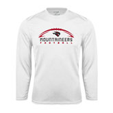Performance White Longsleeve Shirt-Arched Football Design