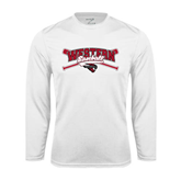 Performance White Longsleeve Shirt-Baseball Crossed Bats Design