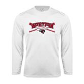 Syntrel Performance White Longsleeve Shirt-Baseball Crossed Bats Design