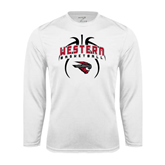 Performance White Longsleeve Shirt-Basketball in Ball