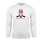 Performance White Longsleeve Shirt-Hockey Crossed Sticks Design