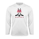 Syntrel Performance White Longsleeve Shirt-Hockey Crossed Sticks Design