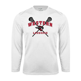 Performance White Longsleeve Shirt-Lacrosse Crossed Sticks