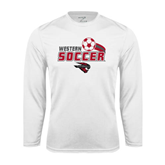 Performance White Longsleeve Shirt-Soccer Swoosh Design