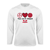 Performance White Longsleeve Shirt-Peace, Love and Volleyball Design