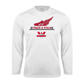 Performance White Longsleeve Shirt-Track and Field Side Shoe Design