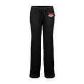 ENZA Ladies Black Fleece Pant-Interlocking W Mountaineers - Official Logo