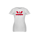Youth Girls White Fashion Fit T Shirt-Interlocking W Mountaineers - Official Logo