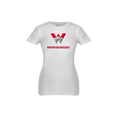 Youth Girls White Fashion Fit T Shirt-W Mountaineers