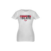 Youth Girls White Fashion Fit T Shirt-Crimson and Slate